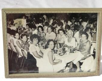 Group of Women at Event, Vintage Black & White Photo, Ephemera, in Metal Frame
