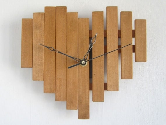 Heart wall clock gift present wooden love cherry wood color