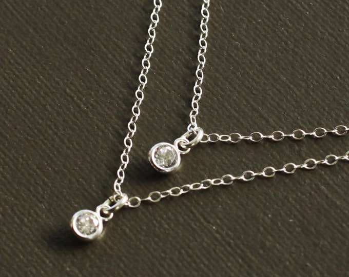 Layered Necklace - CZ Drops Layered Necklace - Cubic Zircon and Sterling Silver
