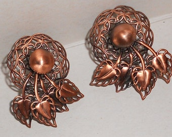 Vintage pierced earrings copper abstract filigree  spray of leaves Free USA Shipping