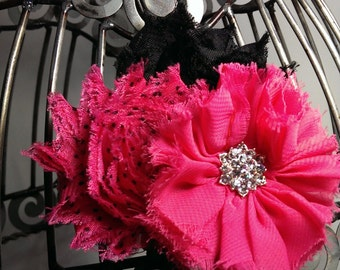 Hot pink and black hair clip, hot pink hair flower, hot pink shabby chic flower clip, frayed fabric vintage inspired hair accessory