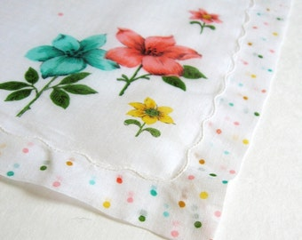 Vintage White Polka Dot Handkerchief - Yellow Flower Print - Turquoise Fashion Floral Print Hankie - Garden Flowers - Cotton Handkerchief