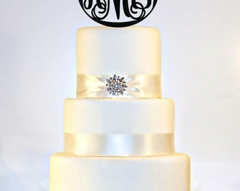 "6"" Personalized Custom Wedding Monogram Cake Topper"