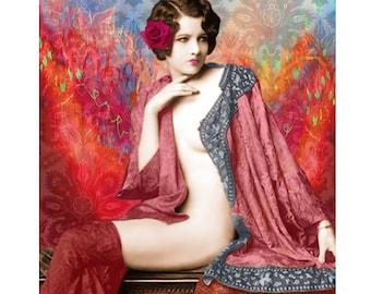 Burlesque vintage, nudecart deco, digital print, photomontage, 1920's, digital art, fine art, modern art, vintage nude, home decor, wall art