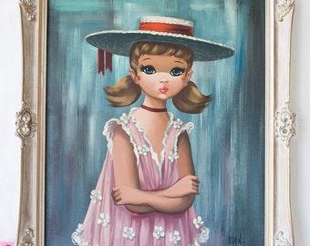 Vintage original signed Eden painting big eyed girl framed portrait mid century waif art work