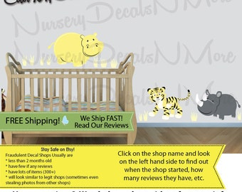 Jungle Animal Decals, Kids Decals, Kids Wall Stickers, Kids Room (SG Extra Animal Yellow Gray) SGEA