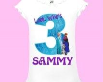 Disney Frozen Birthday Shirt - Pink and Blue