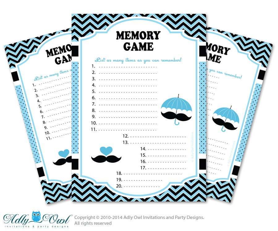 boy mustache memory game for baby shower printable card for