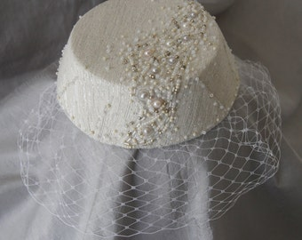 Bridal Fascinator with Birdcage Veil. Hand Beaded Ivory Silver Wedding Perching Cocktail Hat. Tilt Headpiece w/ Pearls. Ready to Ship.