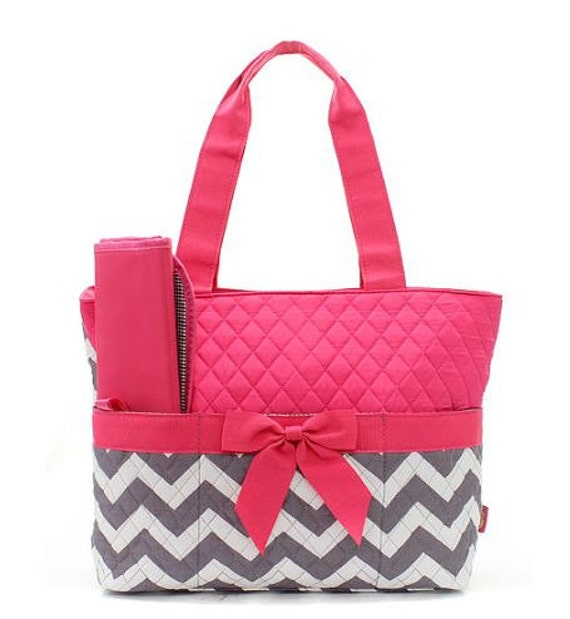 personalized grey and pink chevron zig zag diaper bag with. Black Bedroom Furniture Sets. Home Design Ideas