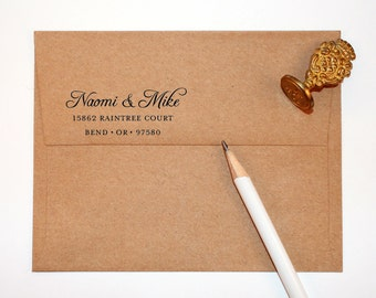 Return Address Stamp calligraphy style, black self inking stamp, rubber stamp wood handle