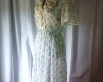 1940s White Nylon Blue Abstract Print House  Dress, Medium