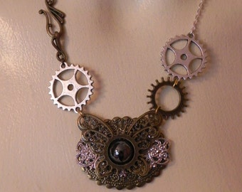 Steampunk gear butterfly necklace
