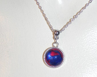 Silver red-blue pendant necklace