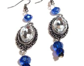 Beautiful Blue Ombre Drop Earrings in Silver