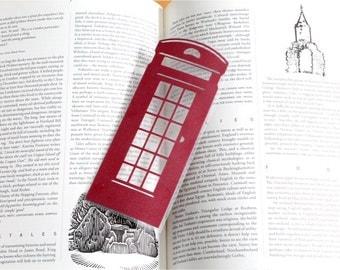 English Phonebox Silhouette papercut Bookmark