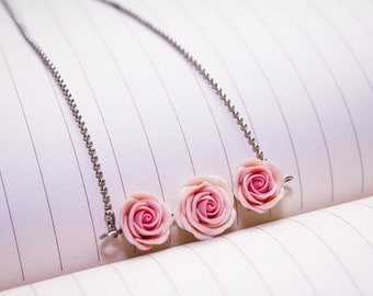 polymer clay pink rose necklace, handmade rose ,soft pink necklace made by polymer clay