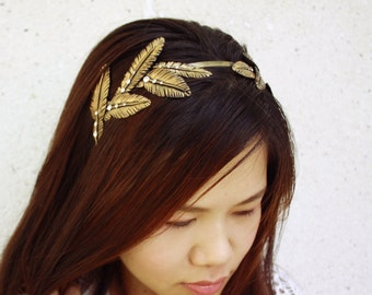 gold feather headband, handmade by polymer clay, country sweet girl