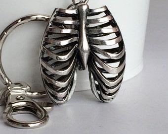 3D Rib Cage Key Chain Bag Charm KC52