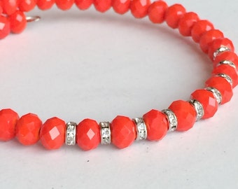 Orange Polish Crystals Bracelet, 1 Strand Memory Wire Bracelet B29