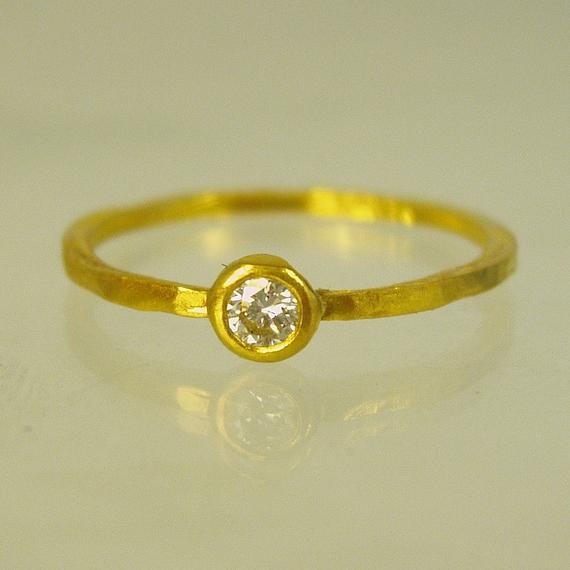 pure gold diamant verlobungsring handgemachte engagement. Black Bedroom Furniture Sets. Home Design Ideas