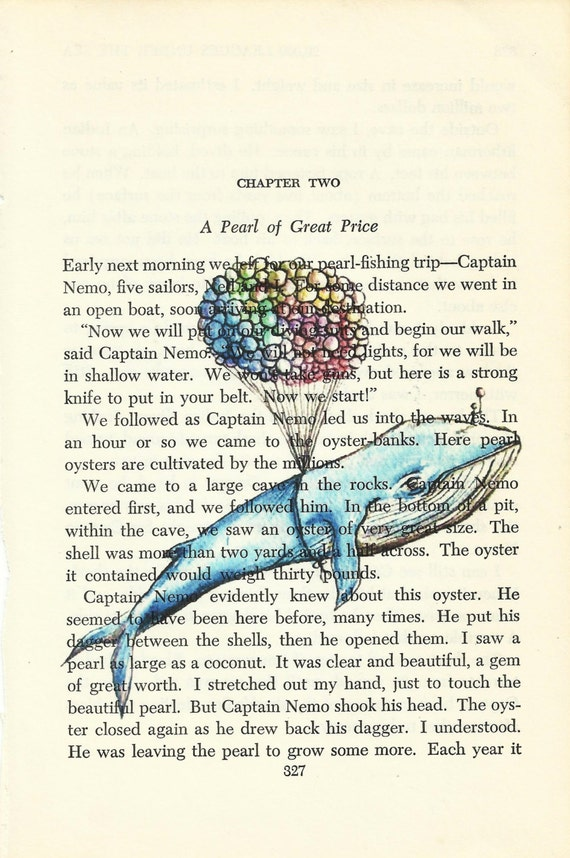 Ruth O Studio on Etsy Watercolor Whale Print on Vintage Book Page