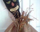 Large black cat folk art doll, Halloween, Trick or Treat