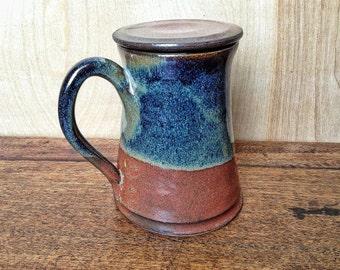 Pottery Mug with Lid, Handmade mug, hebal tea steeping mug