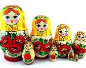 "Russian nesting dolls ""Rossiyanka"" new set 8 psc matryoshka souvenir gift"