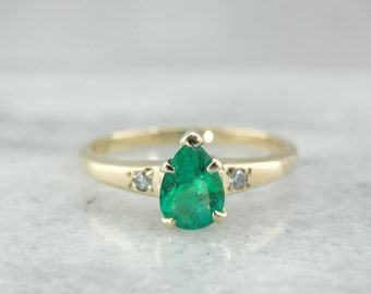 Gleaming Green Pear Cut Emerald Ladies Ring, Diamond Accents 0W2XF9-N