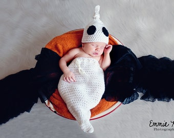 NEWBORN ONLY Halloween Costume - Newborn Ghost Costume - Ghost Swaddle Sack and Hat Halloween Outfit - Halloween Photo Prop - Made to Order