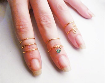 Set of 7 stack midi rings - Adjustable Knuckle Rings - knuckle ring set