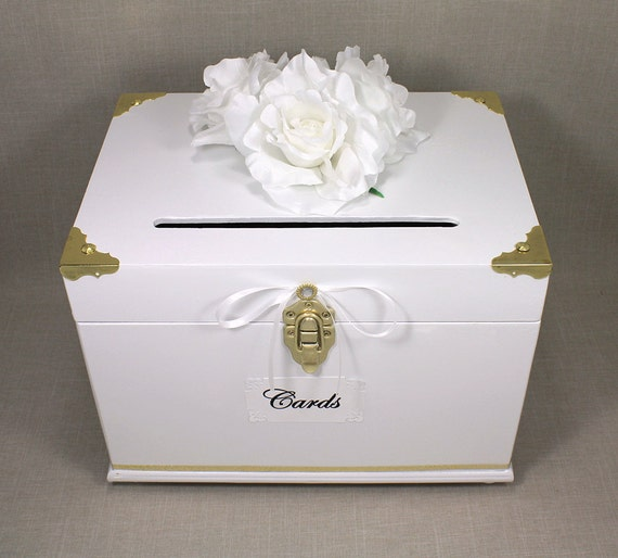 White gold wooden wedding card box trunk by dazzlinggrace for How to decorate a money box