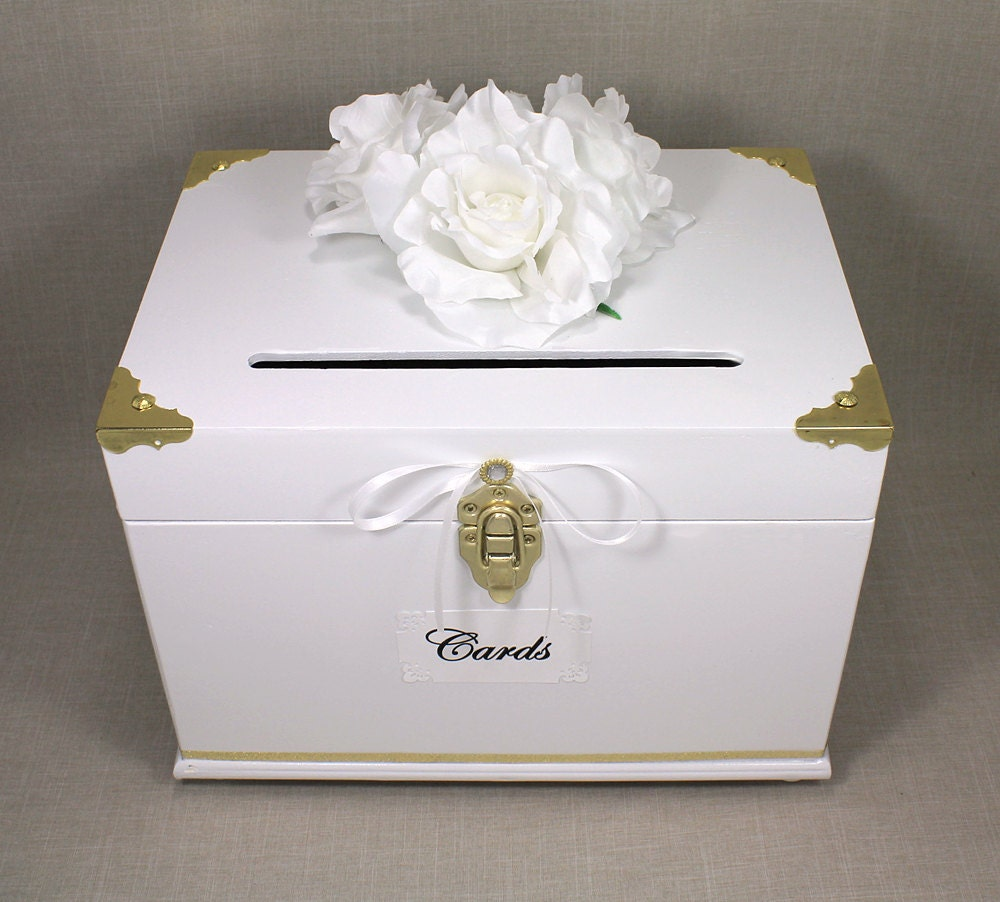 White & Gold Wooden Wedding Card Box Trunk. by DazzlingGRACE