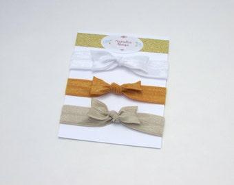 Ribbon Hair Ties - Gold - Hair Ties - Bows