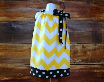 Yellow Chevron Dress - Newborn to Child 11/12 girls baby infant toddler black Colorado Buffaloes Mizzou Missouri Tigers Pittsburgh Pirates