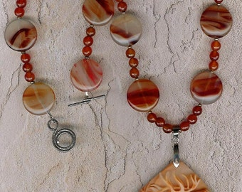 Red Reindeer - Carved Red Malachite Reindeer,  Carnelian, Freshwater Pearls, Sterling Silver Necklace