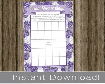 BRIDAL Shower Bingo Game Cards, purple and lavender hydrangeas, NSTANT DOWNLOAD, diy digital printable file, print your own, wedding shower