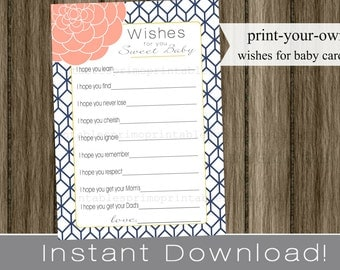 Baby Shower Wishes for Baby girl, navy blue and coral and gold , INSTANT DOWNLOAD diy digital printable file print your own, babyshower idea