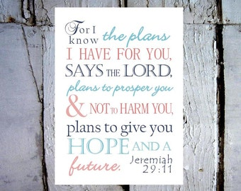 Jeremiah 29:11 For I Know The Plans I Have For You. Print and Pop into Frame DIY Instant Download. Home Decoration.