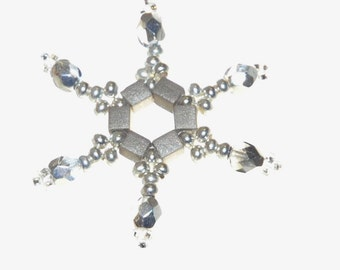 Grey Storm Snowflake Beadweave Earrings