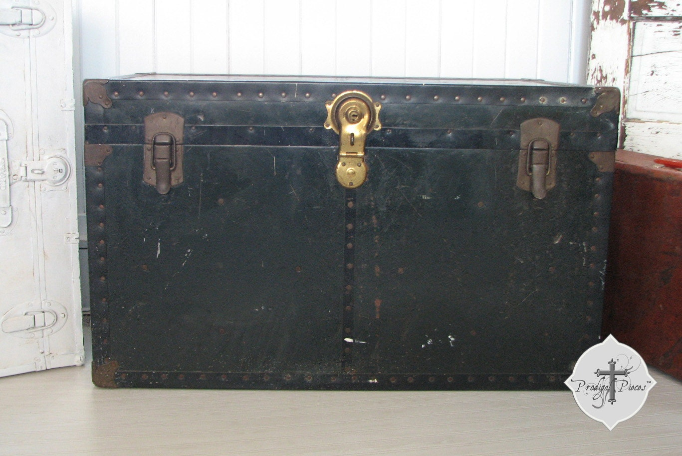 Rusticly Vintage Large Black Metal Steamer Trunk Chest
