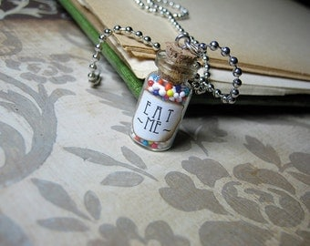 Eat Me Alice in Wonderland 1ml Glass Bottle Necklace Charm - Cork Vial Pendant - Drink Me Wonderland Sprinkles
