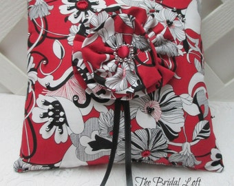 SALE Red Black and White Wedding Ring Pillow, Red and Black Wedding Reception Decor, Ring Bearer Pillow, Matching Items Available
