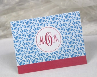 Monogram Note Cards. Animal Print. Set of 10 Folded Cards. Thank You Notes. Personalized & Customizable Stationery