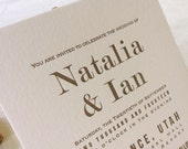 The Primrose Suite - Letterpress Wedding Invitation Suite - Gold and Navy Blue - Modern, Ecru paper, Serif Fonts, Simple, Urban Chic