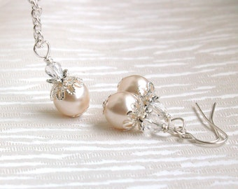 Blush Pink Necklace, Earrings, Bridesmaid Gift Jewelry, Set Of Necklace And Earrings, Flower Girl Jewelry, Pearl Jewelry, Wedding Party