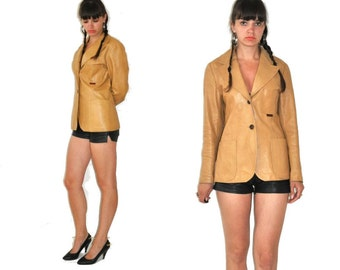 Vintage 70's  Buttons Up Light Brown Leather Jacket