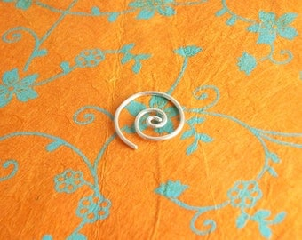 Sterling Silver Small Spiral Earring, single or pair, hoop earring, small sleeper