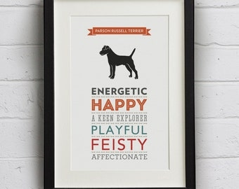 Parson Russell Terrier Dog Breed Traits Print - Parson Russell Terrier Gift